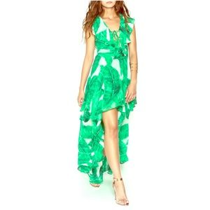 OLIVACEOUS Green & White PALM LEAF DRESS